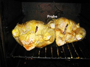 Chickens in Smoker with Probe